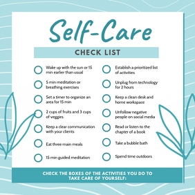 Cyan Self-care Checklist Template Instagram Post