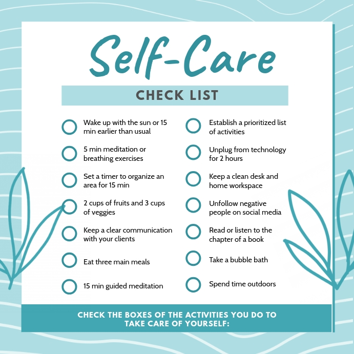 Cyan Self-care Checklist Template Instagram-opslag