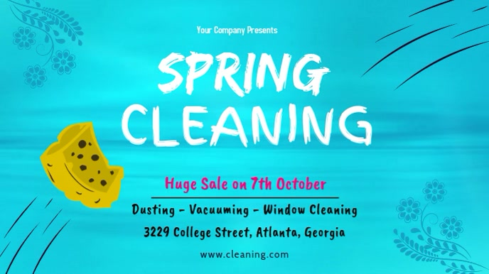 Cyan Spring Cleaning Display Banner Digitalanzeige (16:9) template