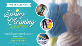 Cyan Spring Cleaning Service Banner Design Facebook Cover Video (16:9) template