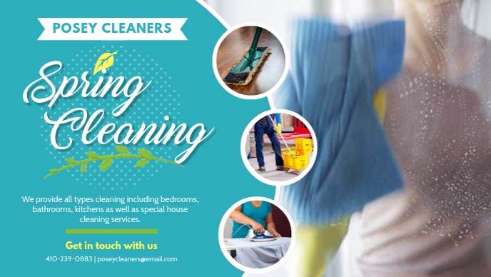 Cyan Spring Cleaning Service Banner Design Film w tle na Facebooka (16:9) template