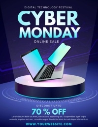 cyber day, Black Friday, retail, Cyber Monday Volante (Carta US) template