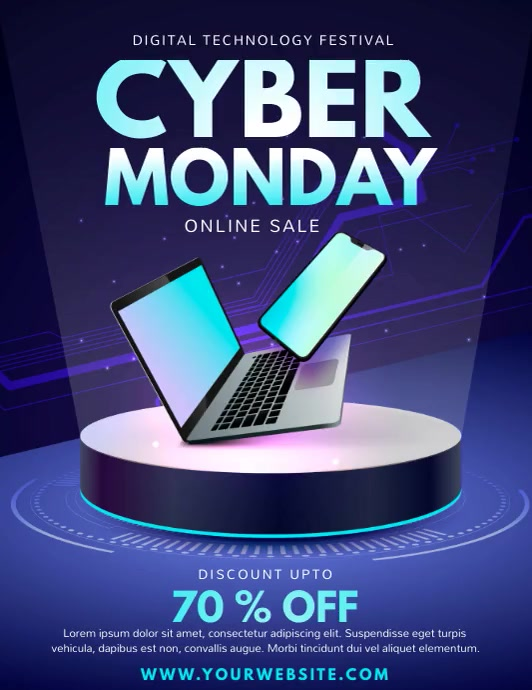 cyber day, Black Friday, retail, Cyber Monday Løbeseddel (US Letter) template