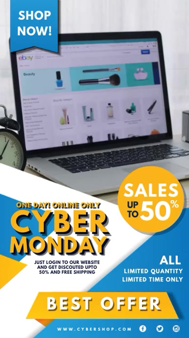 Cyber Monday Online Shop Offer Digital Displa template