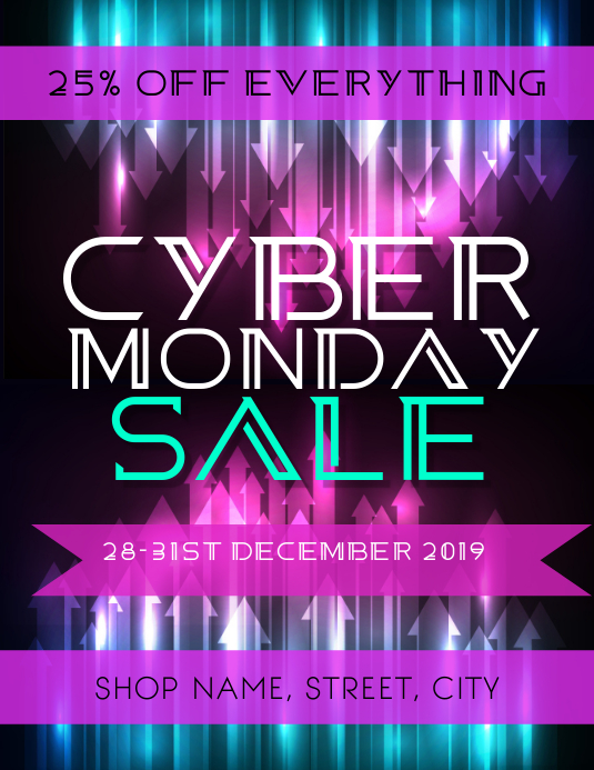 Cyber Monday Sale Flyer (Letter pang-US) template