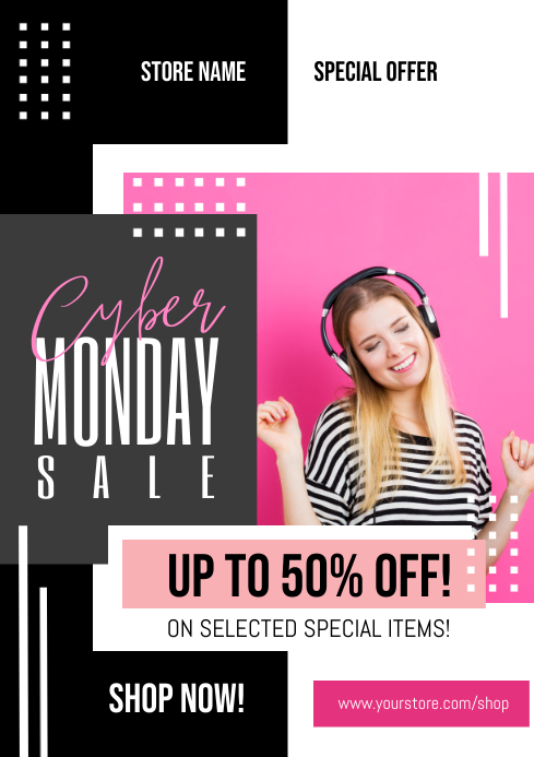 Cyber Monday Sale Flyer A4 template