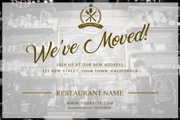 Restaurant Moved Postcard Template