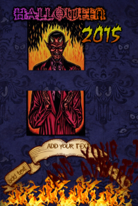Halloween Devil Fire Hell Flames Tarot Demons Spooky Event Flyer Poster Party Invite