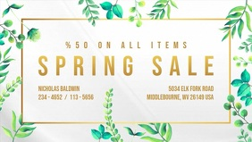 Floral Spring Sale Digital Display Video Facebook-covervideo (16:9) template