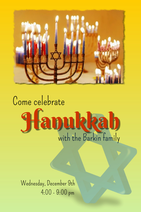 Hannukah invitation