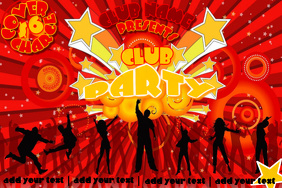 Crowd Event Silhouette Dance Club Party Sunburst 80's Bubbly Retro Flyer
