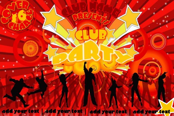 Crowd Event Silhouette Dance Club Party Sunburst 80's Bubbly Retro Flyer