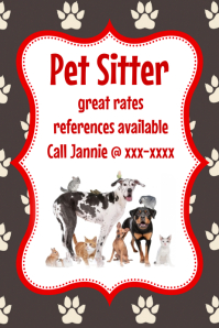 Pet Sitter Animal Cat Dog Bird flyer poster announcement