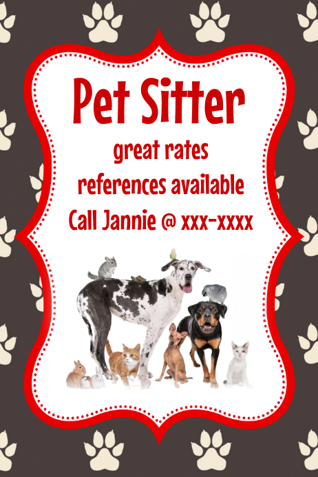 Pet sitter animal cat dog bird flyer poster announcement for Dog adoption flyer template