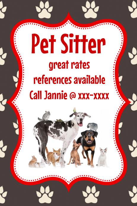 Pet Sitter Animal Cat Dog Bird flyer poster announcement