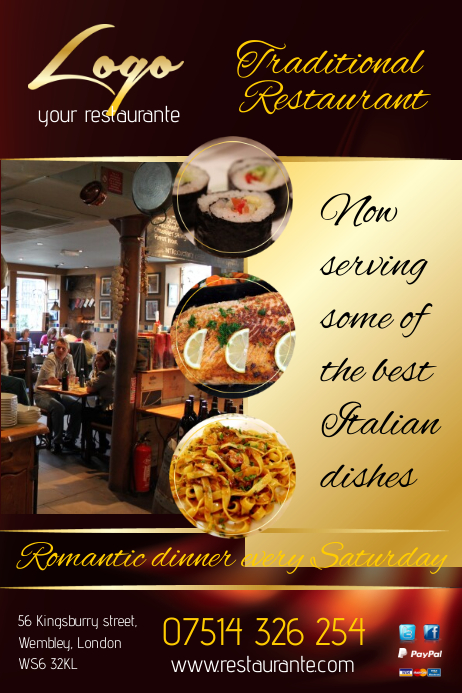 restaurante flyer template