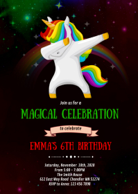 Dabbing unicorn birthday party invitation