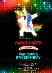Dabbing unicorn dance birthday invitation A6 template