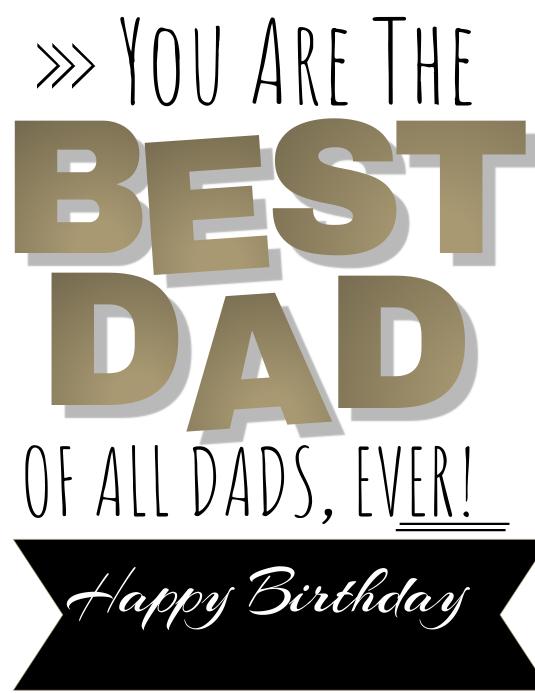 Dad Birthday Card Template Volante (Carta US)