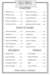 Daily Menu Simple Template