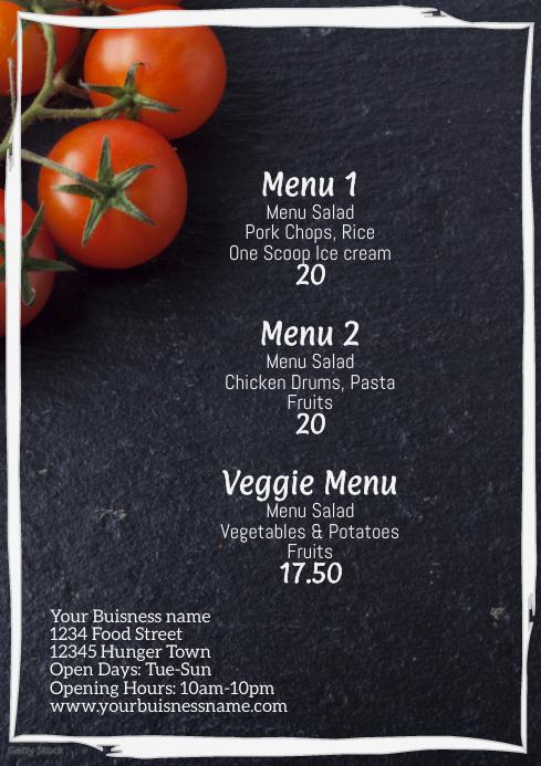 Daily Menu Template A4 Restauran