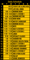 Daily Schedule for Classes Template Spanduk Gulir Atas 3' × 6'