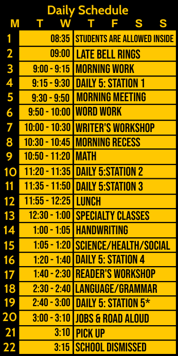 Daily Schedule for Classes Template Oprolbanier 3'×6'