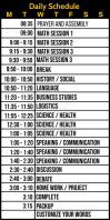 Daily Schedule for Studies Template