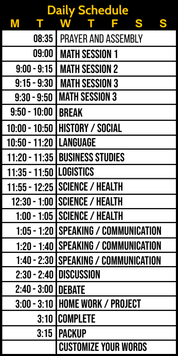 Daily Schedule for Studies Template Roll Up na Banner 3' × 6'