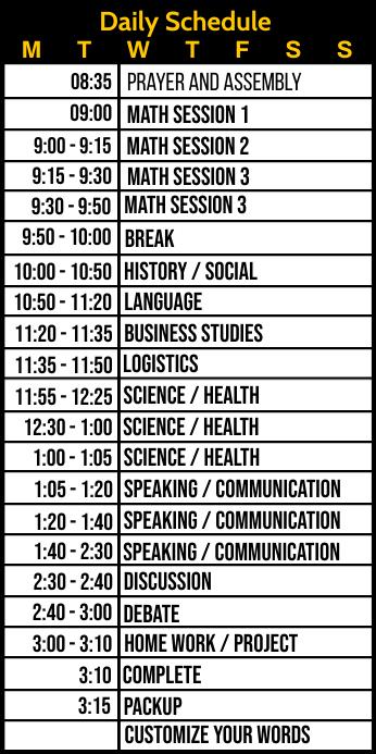 Daily Schedule for Studies Template Spanduk Gulir Atas 3' × 6'