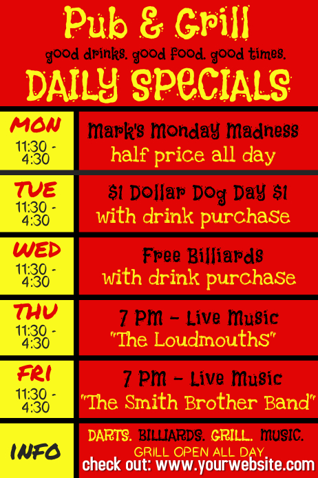 Daily Specials and Events