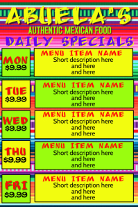 Daily Specials for Mexican Restauant