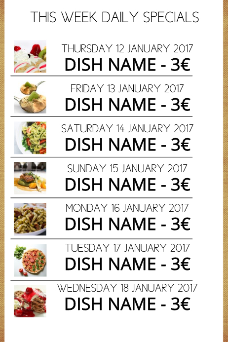 Daily Specials Menu Template  Menu For The Week Template