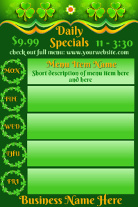 Daily Specials St Patricks Day Theme