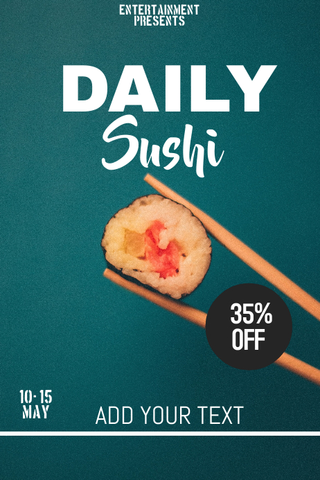 Daily sushi flyer template