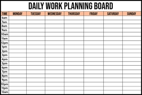 Daily Work Planning Board Template แบนเนอร์ 4' × 6'