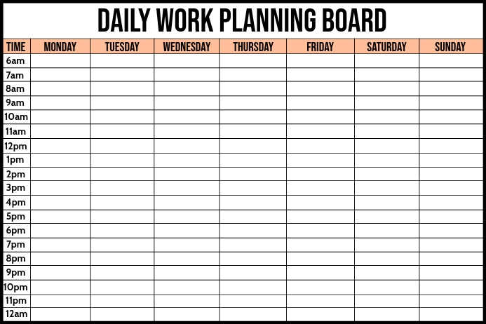 Daily Work Planning Board Template 横幅 4' × 6'