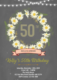 Daisy flower theme invitation