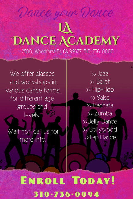 dance academy poster/flyer template | PosterMyWall