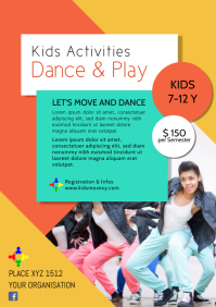 Dance academy class dancing group school ad A4 template