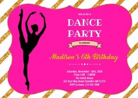 Dance ballerina birthday invitation A6 template