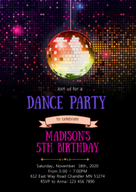Dance birthday party invitation A6 template