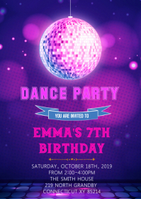 Dance birthday theme invitation