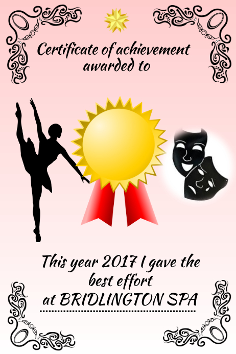 dance certificateaward customize template