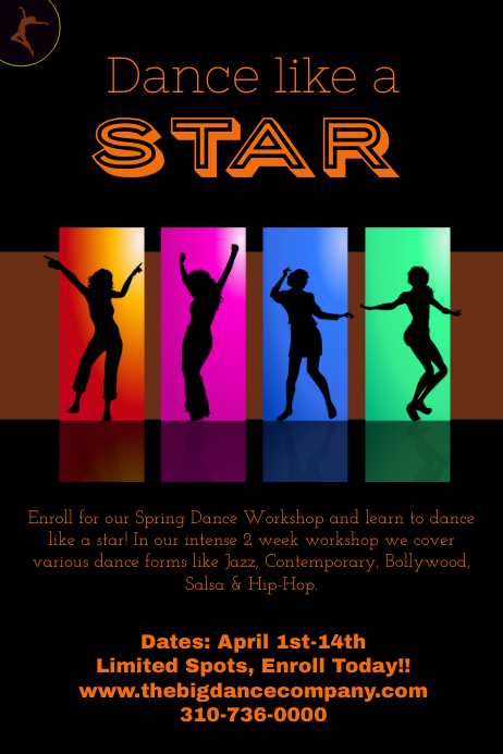 Dance Class/ Workshop Poster Template | PosterMyWall