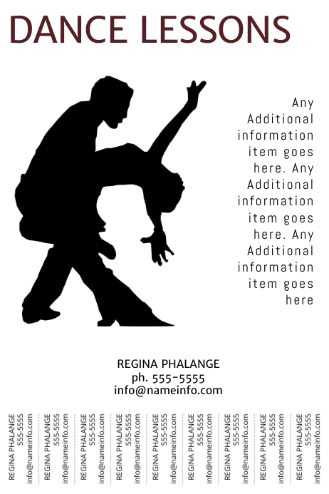 Dance Lessons Flyer With Tear-off tabs