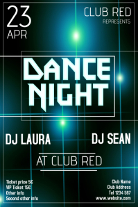 dance night glowing flyer template