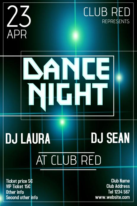 dance night glowing flyer template