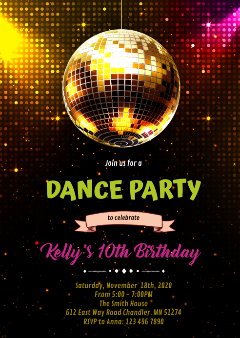 Dance party birthday Invitation A6 template