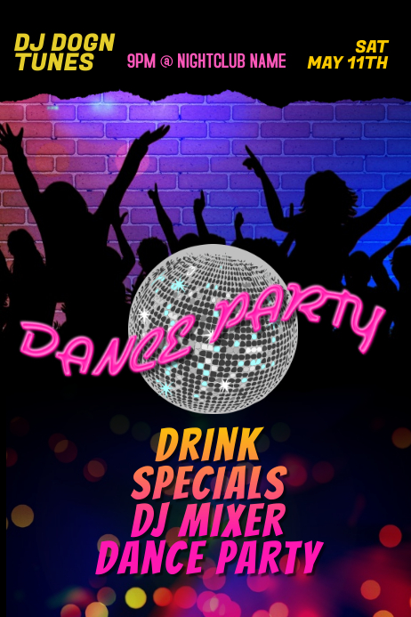 DJ Club Dance Party Club Poster Template